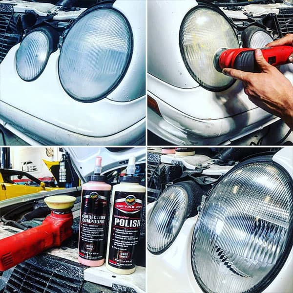 Head light polish before and after